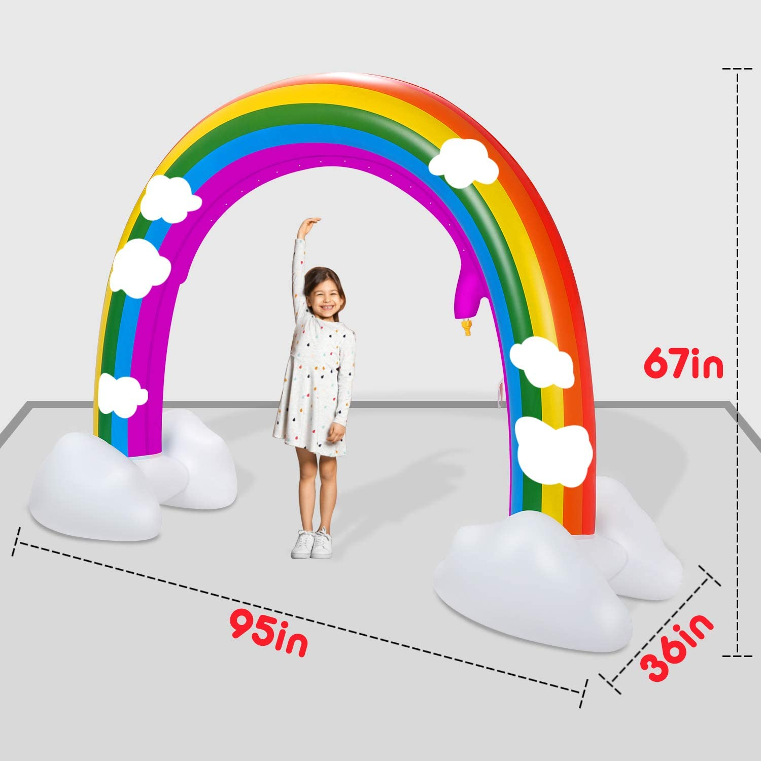 95 Wider Summer Inflatable Water Toys Outdoor Backyard Party Pool Summer Sprinkler Toy for Children Infants Boys Girls and Kids Summer Spray Water Toy lenbest Rainbow Sprinkler Toys