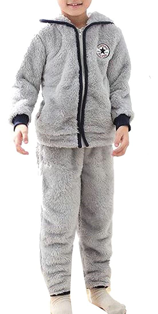 Cromoncent Boys' Winter Warm Flannel Hoodie 2 Piece Sleepwear Pajama Set