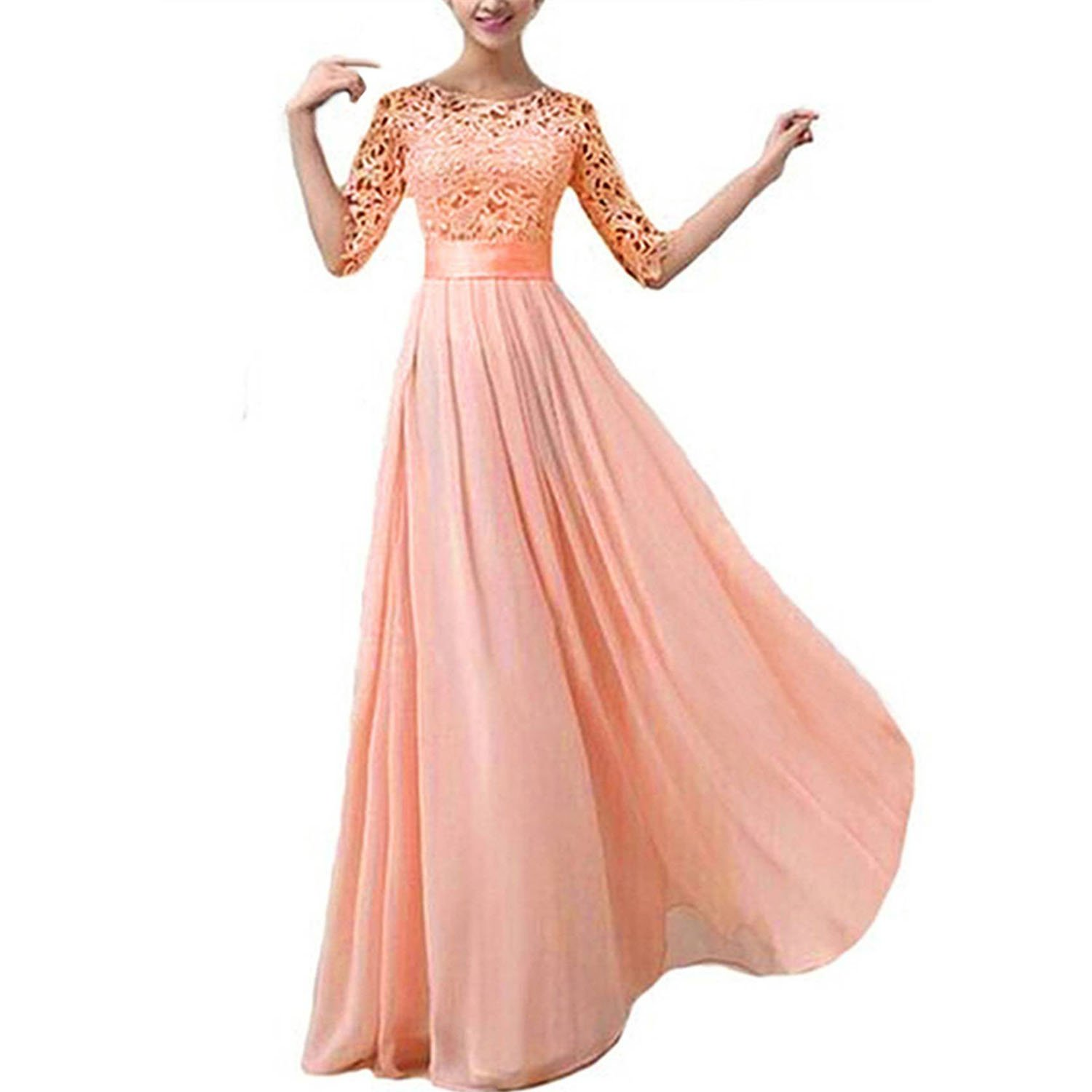 wedding dress - SODIAL (R) Chiffon lace Wedding Dress Ball Gown Prom Dress wedding dress Pink XXL SODIAL(R) 047481B5