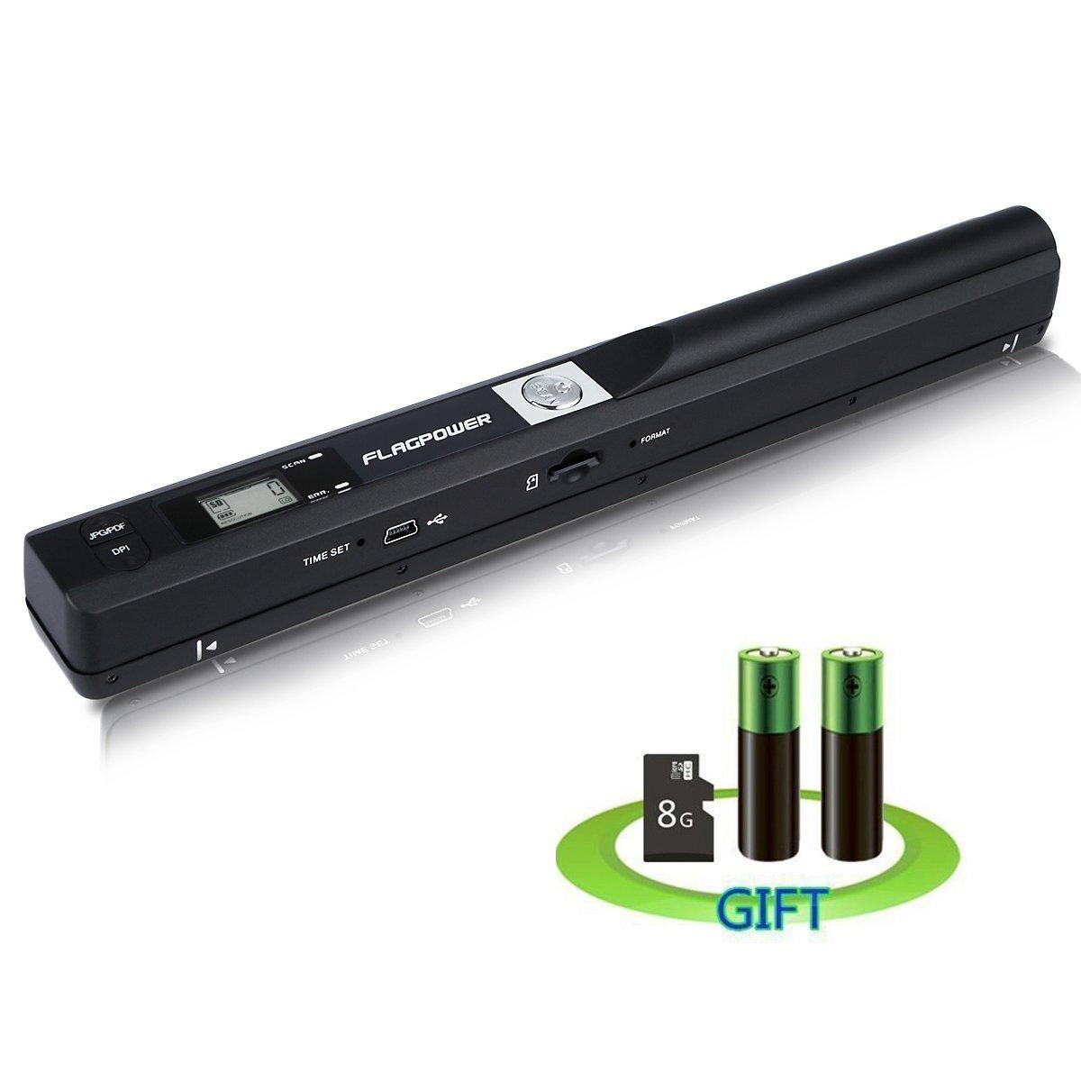 FLAGPOWER 900DPI Portatile Wireless Scanner per Documenti A4 Foto Scontrini Libri JPEG/PDF su MicroSD (inclusa 8G Micro SD scheda e due AA batterie) PS-100