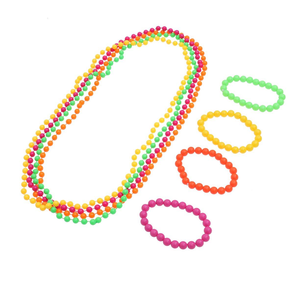 BESTOYARD Neon Bead Halskette Farbe Bead Armband Kostümzubehör