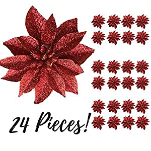 """BANBERRY DESIGNS Artificial Poinsettia Flowers - 3 3/4"""" Red Glittered Poinsettia Clip On Ornaments - Christmas Decorations - Decorative Floral Accessories 11"""