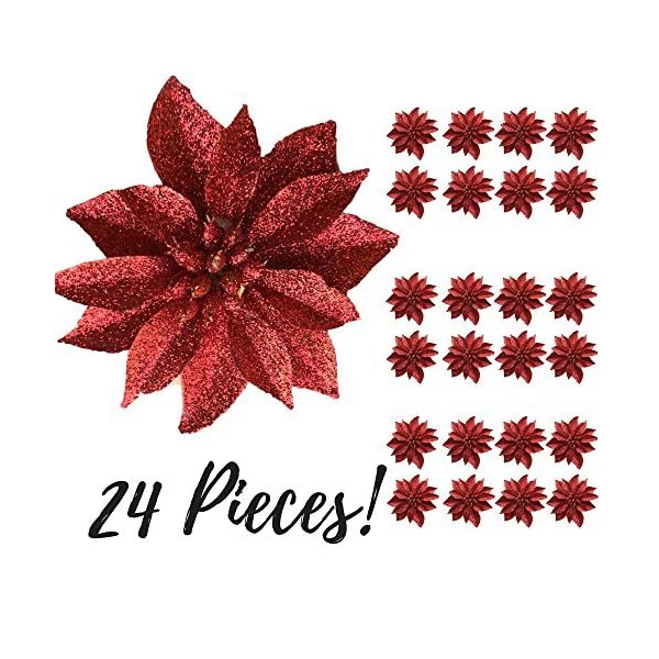 BANBERRY-DESIGNS-Artificial-Poinsettia-Flowers-3-34-Red-Glittered-Poinsettia-Clip-On-Ornaments-Christmas-Decorations-Decorative-Floral-Accessories
