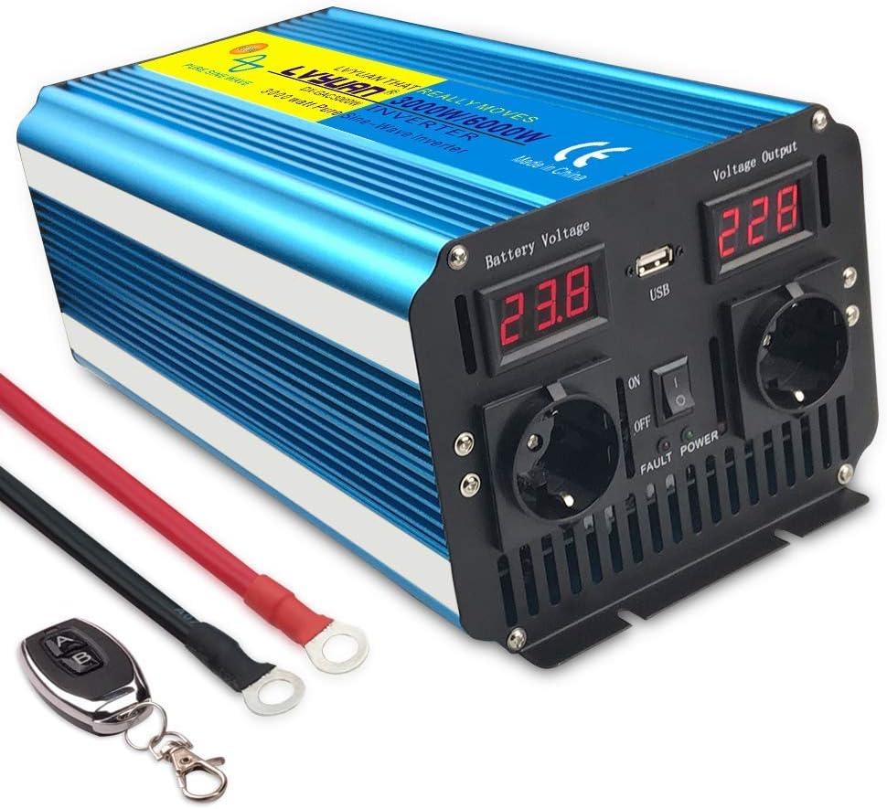 10% Discount,Inversor de Corriente de Onda sinusoidal Pura 3000W Convertidor DC 24V a AC 220V 230V con Control Remoto Salidas de AC Dobles & Pantalla LED para el Uso en el hogar del Carro de RV