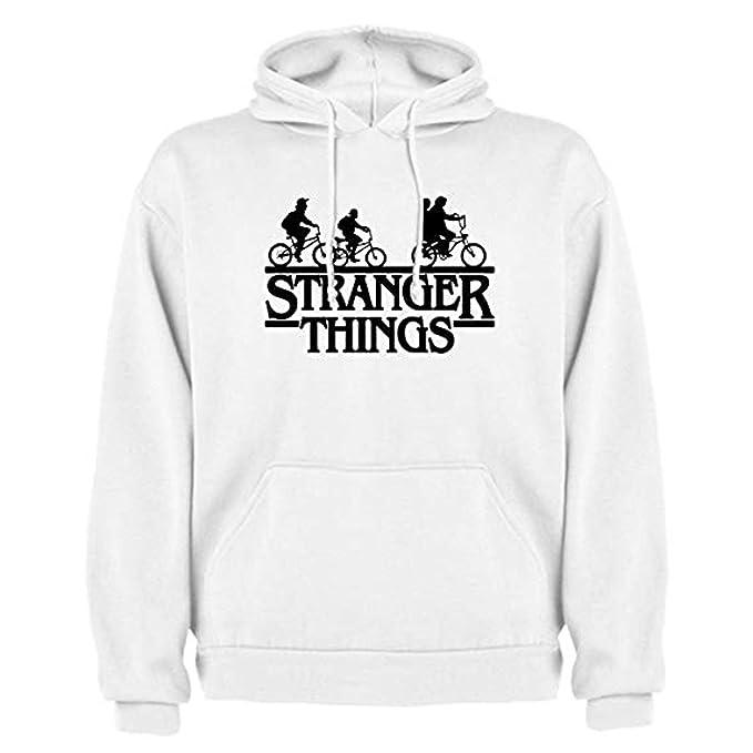 TINCURI Sudadera con Capucha Blanca Stranger Things Bicicletas (XS-XXL)