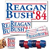 Reagan and Bush '84 Large Political Set - Banner, Yard Signs, Magnets, Coffee Mug, and Can Coolers