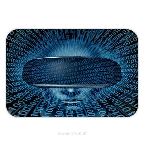 Flannel Microfiber Non-slip Rubber Backing Soft Absorbent Doormat Mat Rug Carpet Virtual Reality Concept As A Gamer Wearing Vr Glasses Or Goggles With Digital Binary Code As A 437543524 for - Nyc Goggles