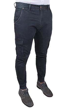 644a59c154 Pantalone uomo cargo grigio scuro slim fit aderente Jeans casual con ...