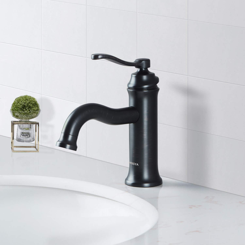 Black Bathroom Faucets Vintage Matte Black Bathroom Sink Faucet-Single Handle One Hole Antique  Faucets for Lavatory Vanity Basin, cUPC Certified, Lead-Free - - Amazon.com