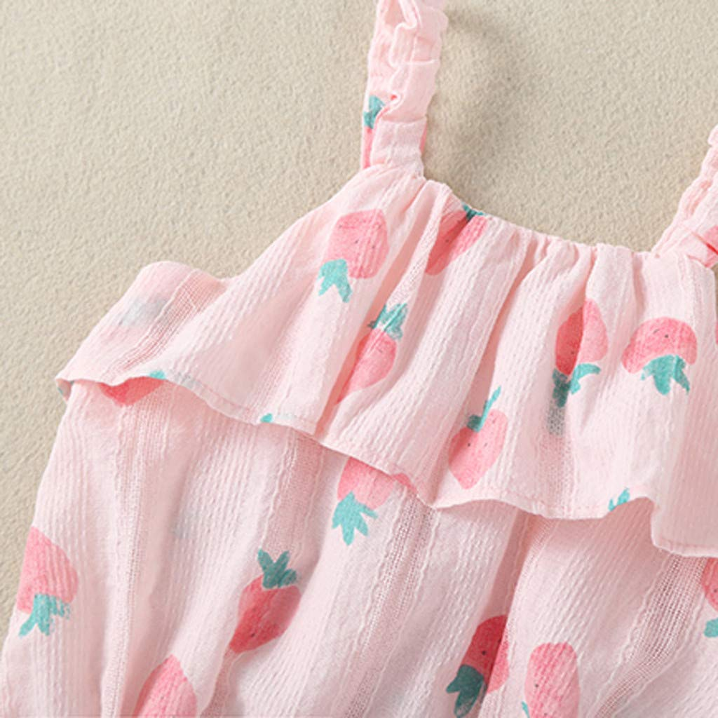 Anxinke Infants Girls Summer Sleeveless Strawberry Print Ruffles Rompers with Hat