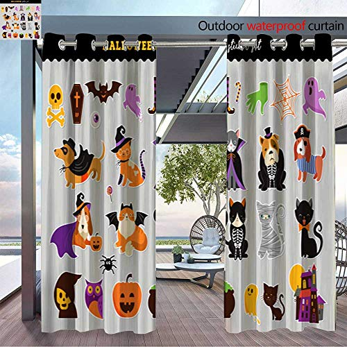 BlountDecor Patio Curtains Happy Halloween Stickers Set of Cats and Dogs in Monsters Costumes Halloween par Outdoor Curtain for Patio,Outdoor Patio Curtains W96 x L96/Pair ()
