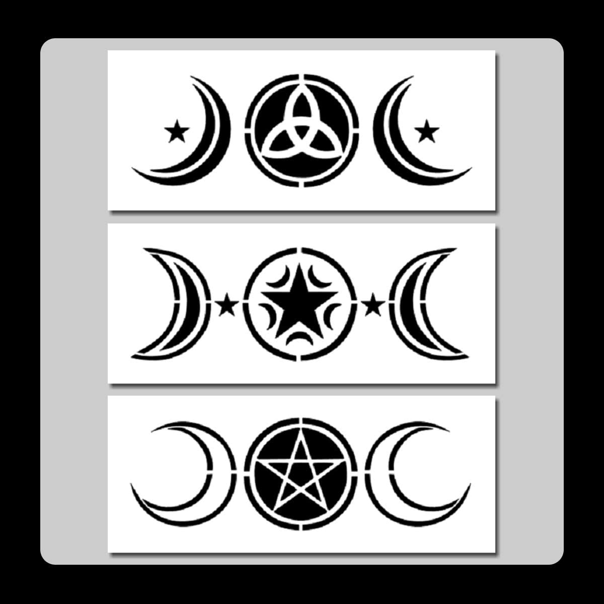9 X 9 Wiccan Goddess STENCIL with Moon Phases and Stars Wicca//Pagan//Nature