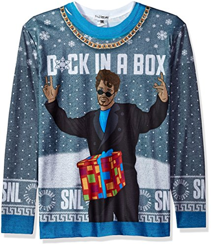 Faux Real Men's Sublimated Faux Christmas Licensed Long Sleeve T-Shirt, SNL Dick in A Box, XX-Large