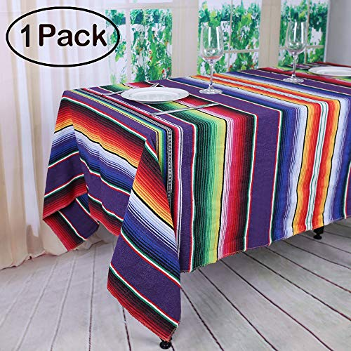 TRLYC 57x102 inches Mexican Tablecloth Mexican Blanket for Mexican Party Decorations Wedding Supplies Cotton Mexican Serape Tablecloth]()