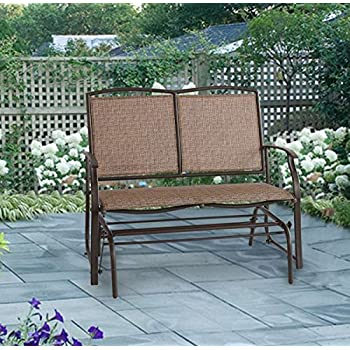 Ulax Furniture Outdoor Patio Glider Swing Loveseat Bench Chair In Brown