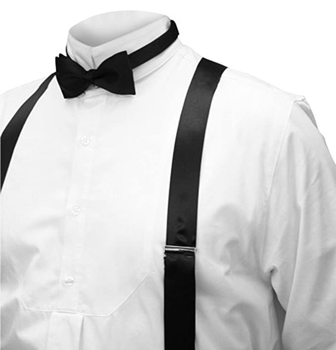 Victorian Men's Formal Wear, Wedding Tuxedo  Silk Charmeuse Y-Back Suspenders $51.95 AT vintagedancer.com