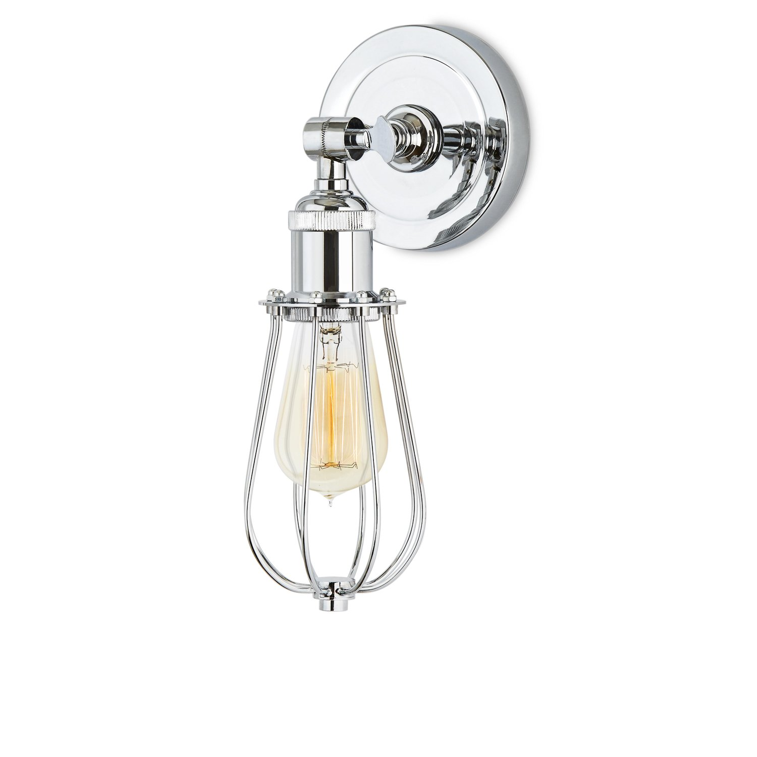 Chrome Wall Sconce Lighting - Cage Lamp with Edison Style Bulb Included, Dimmable, Brooklyn Bulb Co. Clifton Collection, ETL Listed