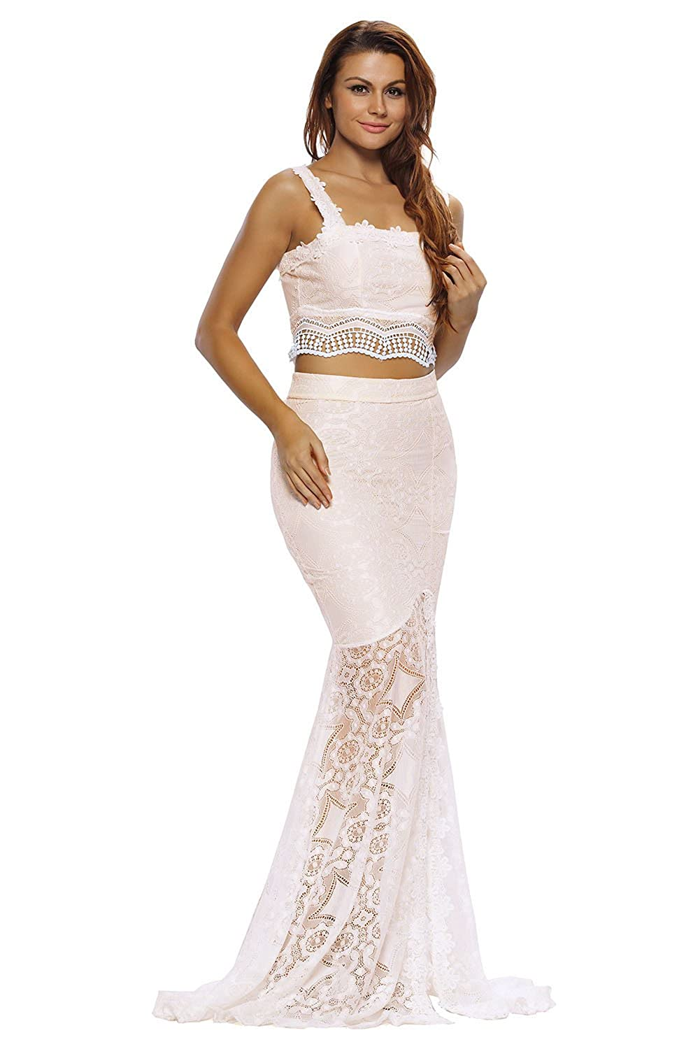 df4bced10 Crop Top Maxi Skirt Set - Sexy Creamy Lace Crop Top Maxi Skirt Set For  Women (M(US 8-10)): Amazon.co.uk: Clothing