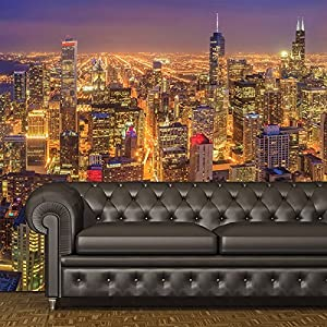 Chicago wall mural skyscraper city skyline photo wallpaper for Chicago skyline mural wallpaper