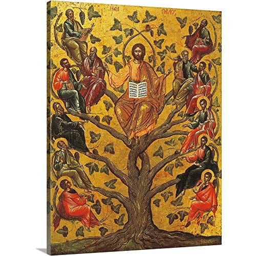 Christ and The Apostles, Icon, 17th Century Canvas Wall Art Print, 18