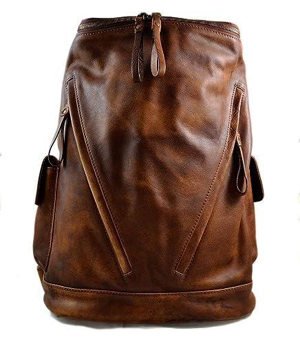 8ee0c66cce Sac à dos marron cuir italien lavé vintage sac à dos en cuir homme femme sac