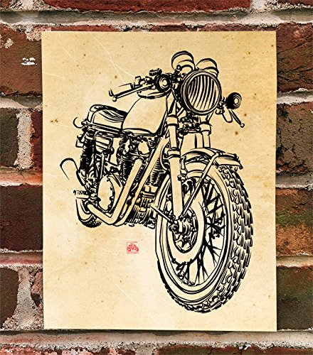 - KillerBeeMoto: Limited Print Of Vintage Yamaha Cafe Racer XS650 Motorcycle Ink Style Format Print