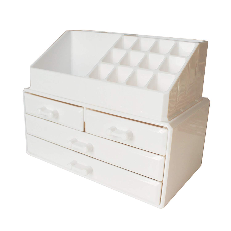 Kurtzy Organizzatore Trucchi Acrilico bianca Porta Trucchi Organizer con 20 Sezion - 16 porta cosmetici e 4 cassetti - Cosmetic Organizer Scatola per Ombretti Rossetti Gioielli JT-110-ES