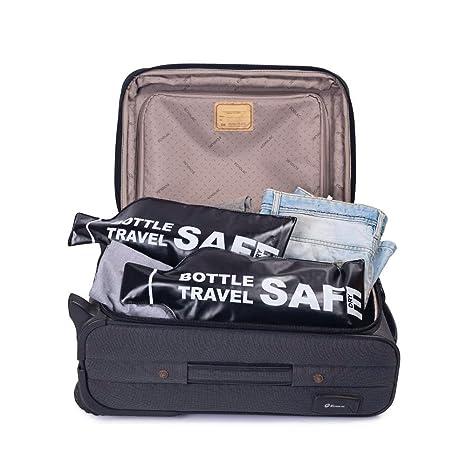 4 reutilizable bolsa de viaje seguro botella de vino soporte - Compatible con TSA - estanca a proteger botellas, equipaje y ropa - Pantalla la botella de ...