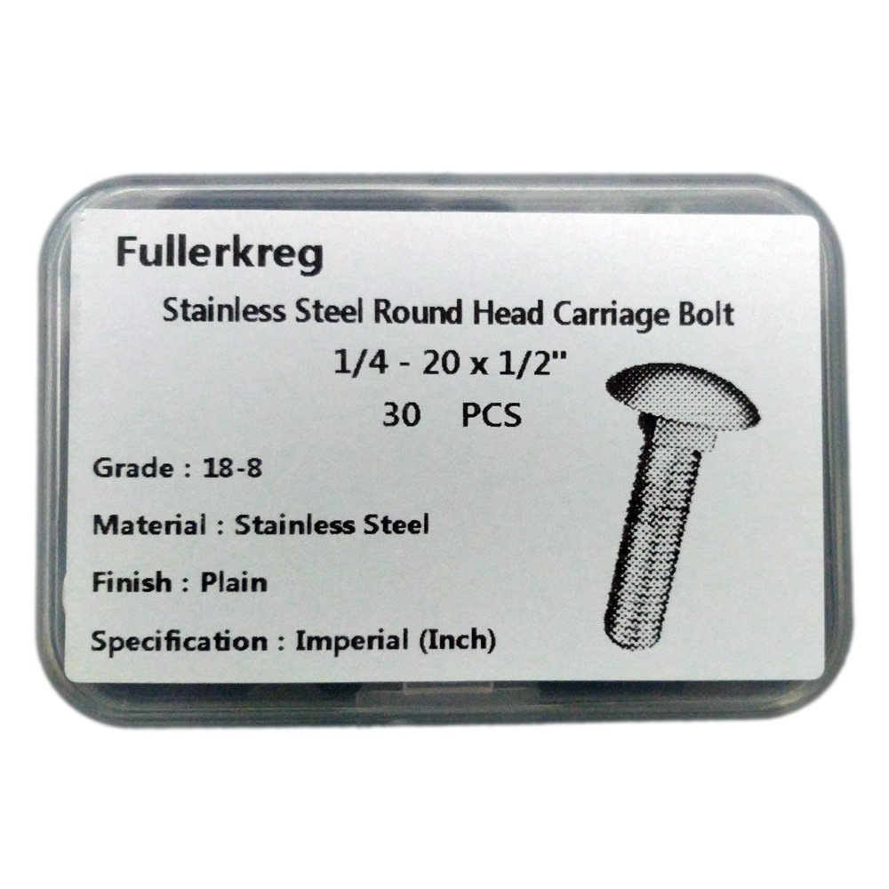 FullerKreg 1/4-20x1/2'' Carriage Bolts, Round Head, Square Shoulder, Stainless Steel 18-8, Full Thread, Plain Finish,Quantity 30