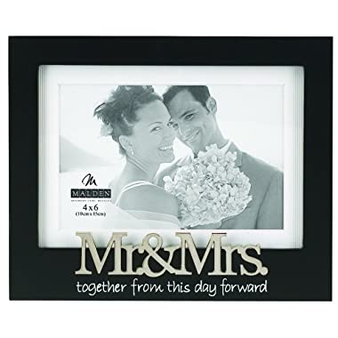 Malden International Designs Wedding Mr. and Mrs. Expression Picture Frame, 4x6, Black