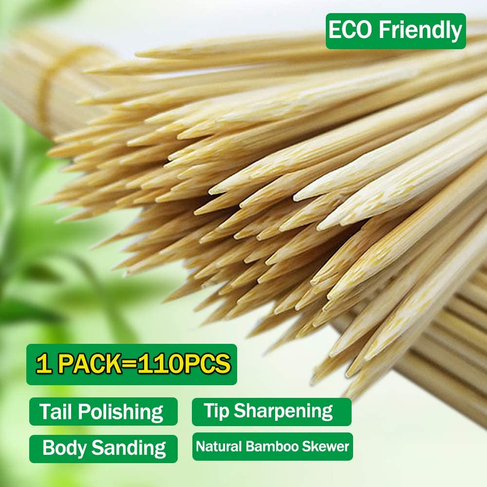 "Bamboo Skewers 10"" Natural Roasting Skewers Sticks for BBQ Grilling, Chocolate Fountain, Barbecue, Appetiser, Crafting, Party, Marshmallow Roasting or Fruit Sticks, Φ= 4mm, Size 8""10""12""14""16"" (110PCS) : Garden & Outdoor"
