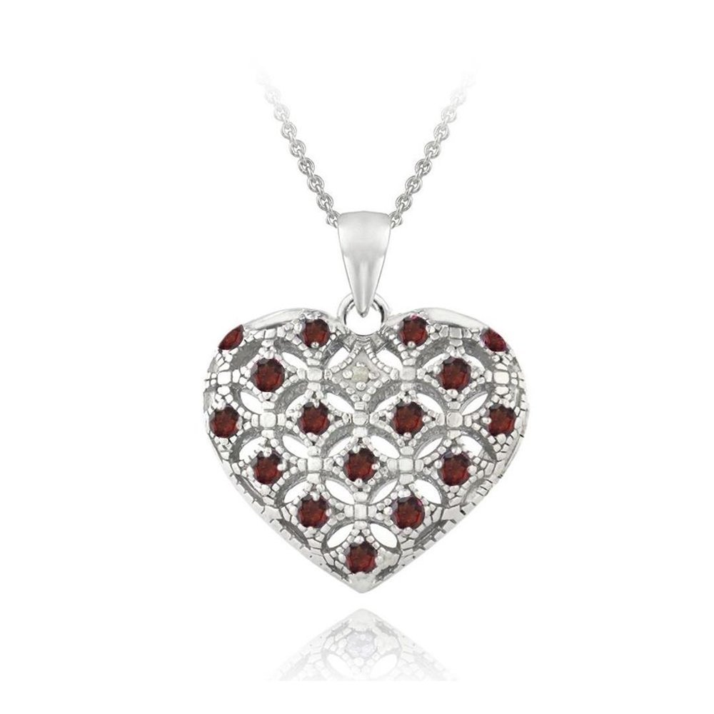 Sterling Silver Garnet & Simulated Diamond Accent Heart Locket Necklace, 18''