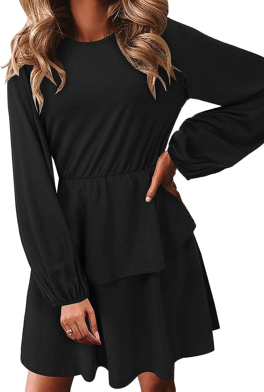 SOLERSUN Womens Casual T Shirt Dresses Balloon Long Sleeves Ruffled Swing Tunic Dress