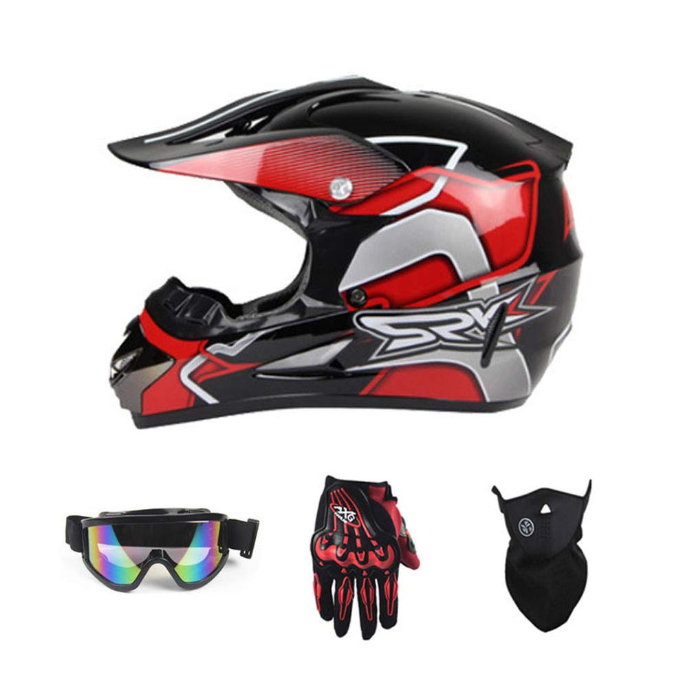 Yangyer De motocross Casque Casque tout-terrain Dirt Bike Unisexe de moto Casque VTT Gants Lunettes Pink,M de moto tout casque terrain MX casque de v/élo AM casque