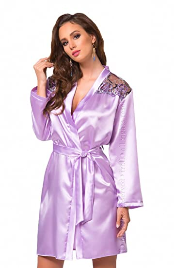 57d700fe381d Sexy Lavender Purple Satin Kimono Robe Dressing Gown Cover Up Floral Plus  Size 8 10 12 14 16 18 UK  Amazon.co.uk  Clothing
