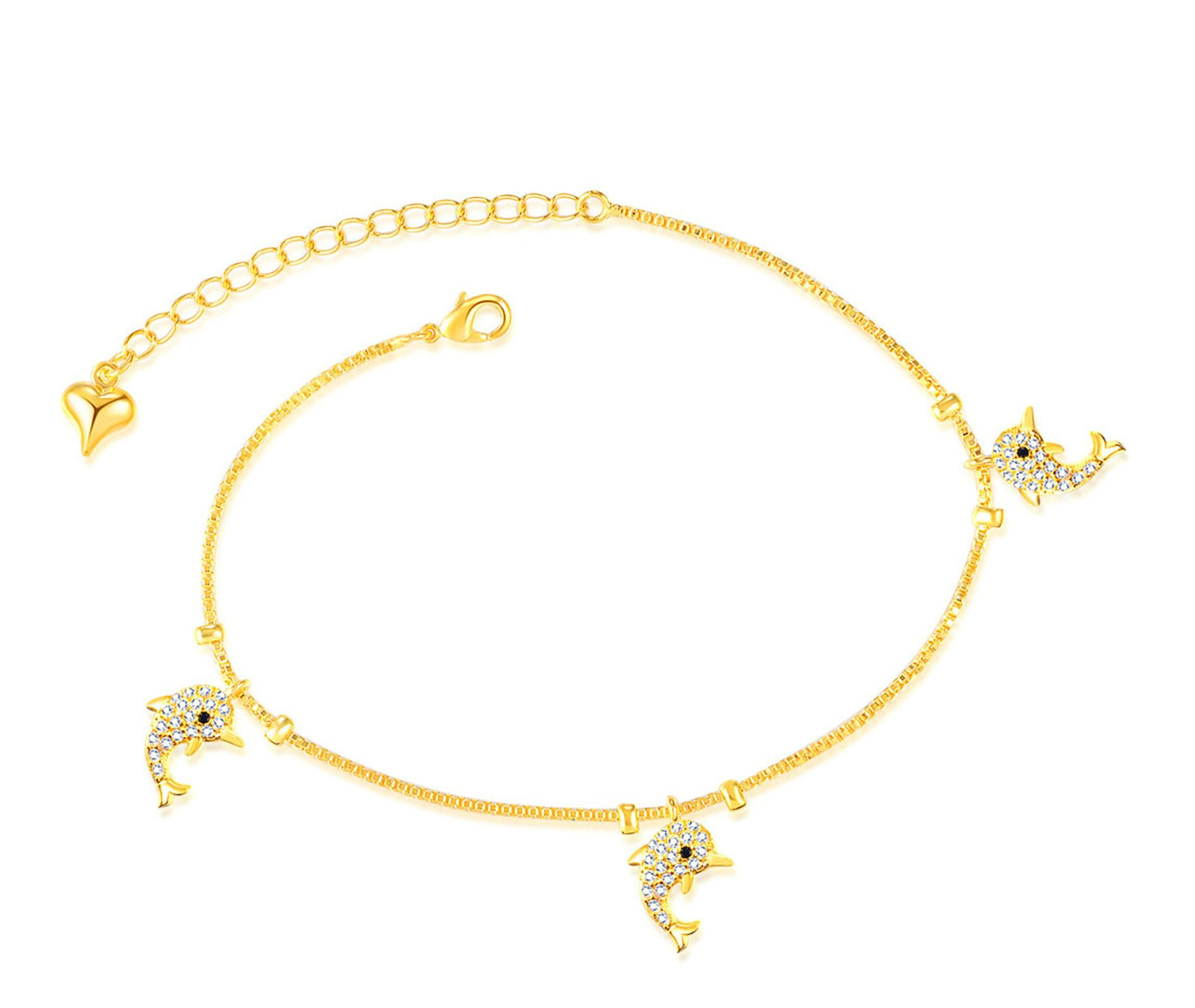 MoAndy Women's Gold Plated Anklet Cubic Zirconia Dolphin Foot Gold Chain Length 21+5CM