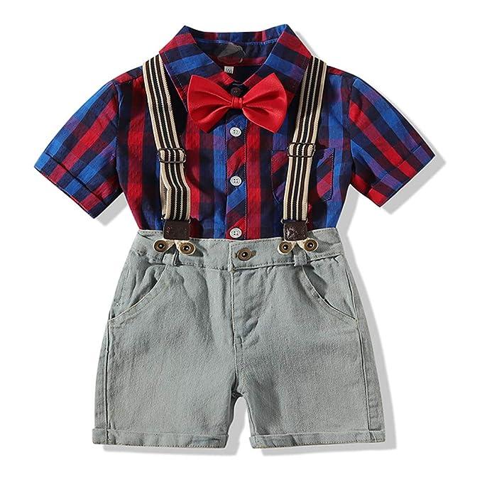 Amazon.com: kimocat Boy ropa Set manga corta a cuadros ...