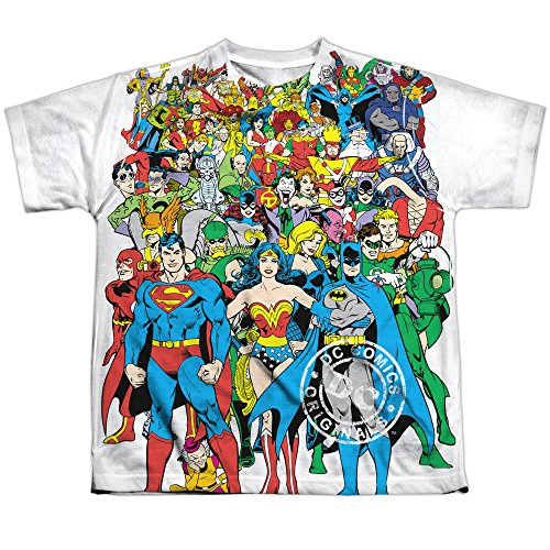 DC Detective Comics Heroes & Villains Group Selfie Big Boys Front Print T-Shirt (Heroes And Villains Clothing)