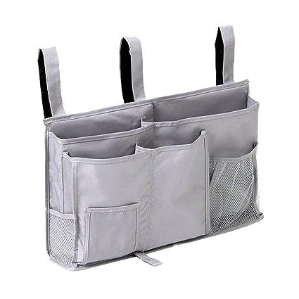 Grey OUNONA Space Saving Sofa Bed Tidy Organiser Remote Control Pocket Hanging Storage Bag