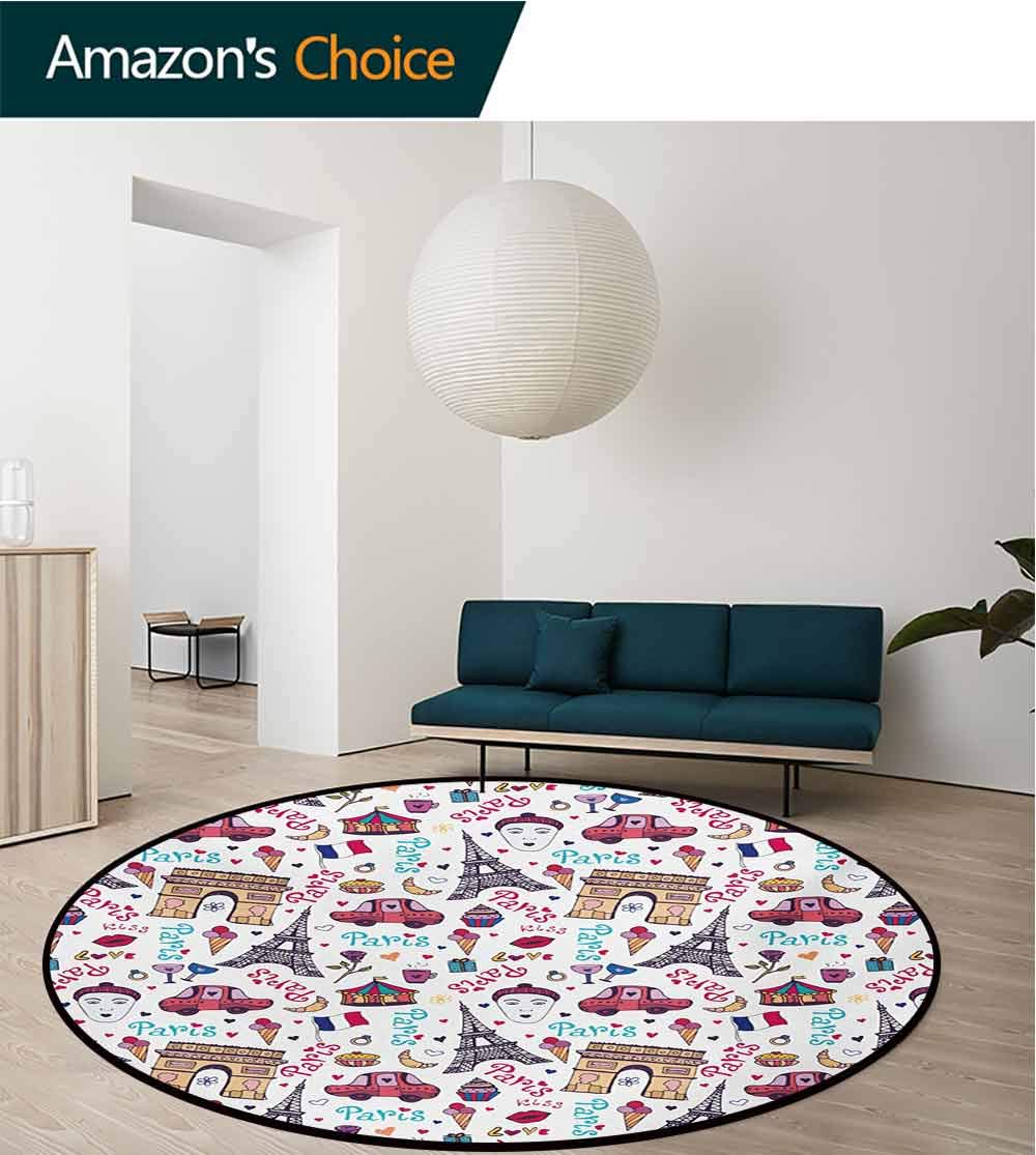 RUGSMAT Paris Modern Flannel Microfiber Round Area Rug,Triumphal Arch Famous Tower and Many Other Symbols of The City of Love Kiss Rose Living Room Bedroom Study Soft Carpet,Round-63 Inch