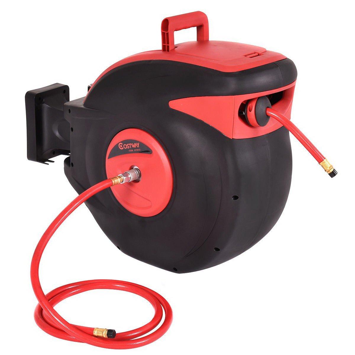 3/8'' 100ft Retractable Air Compressor Hose Reel 300 PSI Auto Rewind Garage Tools