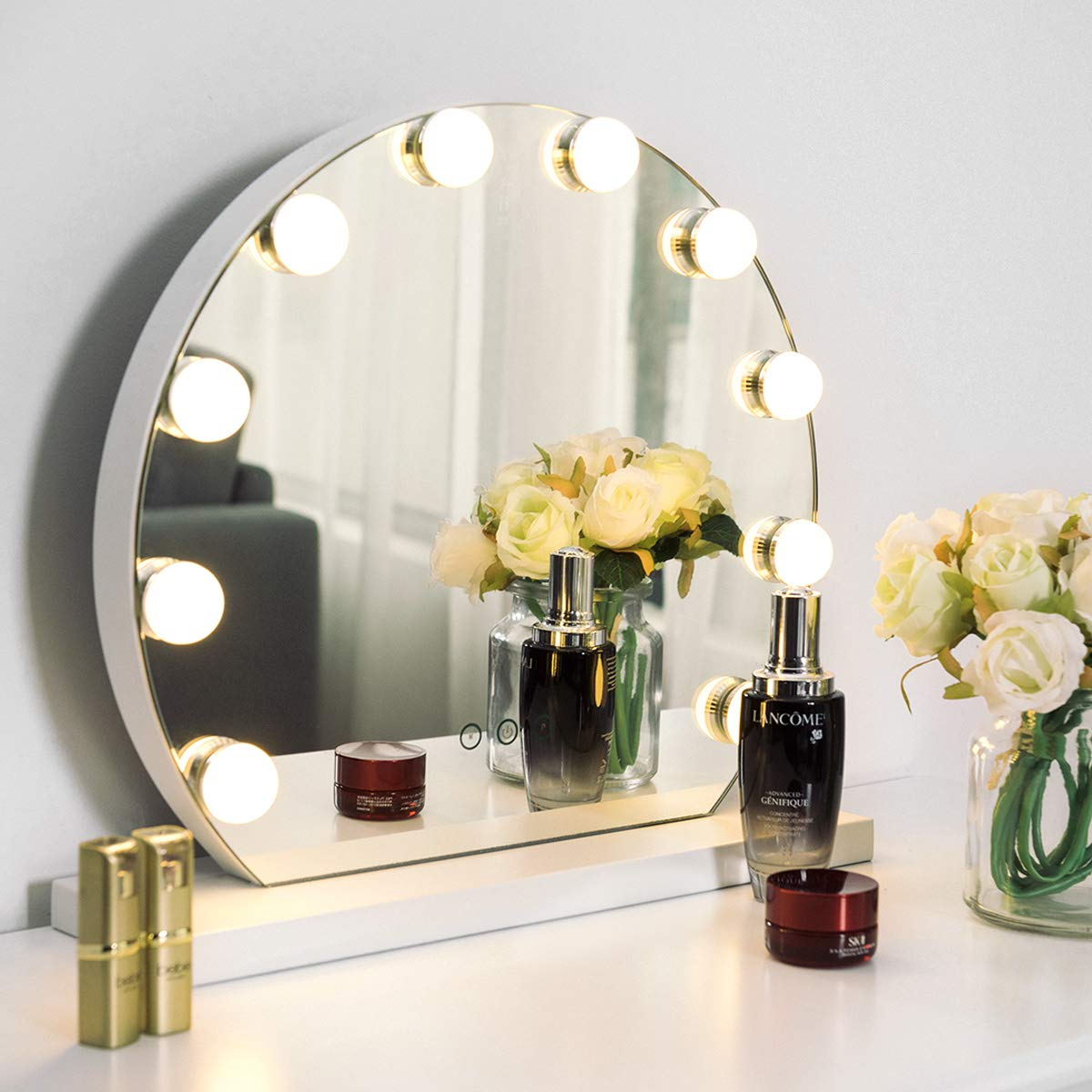 Tangkula Makeup Vanity Mirror with Light, Hollywood Style Mirror with Base Touch Screen High Definition Cosmetic Mirror with 10 LED Dimmable Bulbs 3 Color Lighting Modes, Tabletop Frameless Mirror by Tangkula