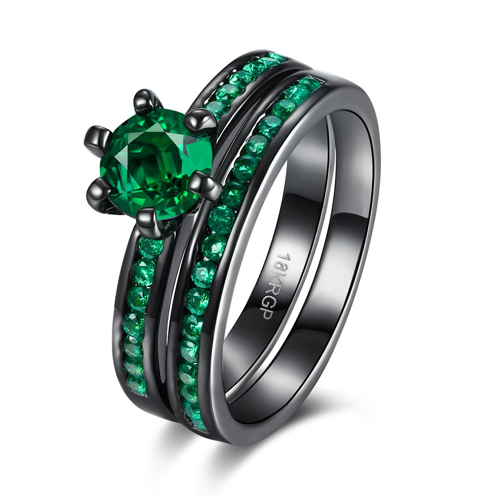 LuckyWeng Women's New Exquisite Fashion Jewelry Gun Black Set Round Green Diamond Ring