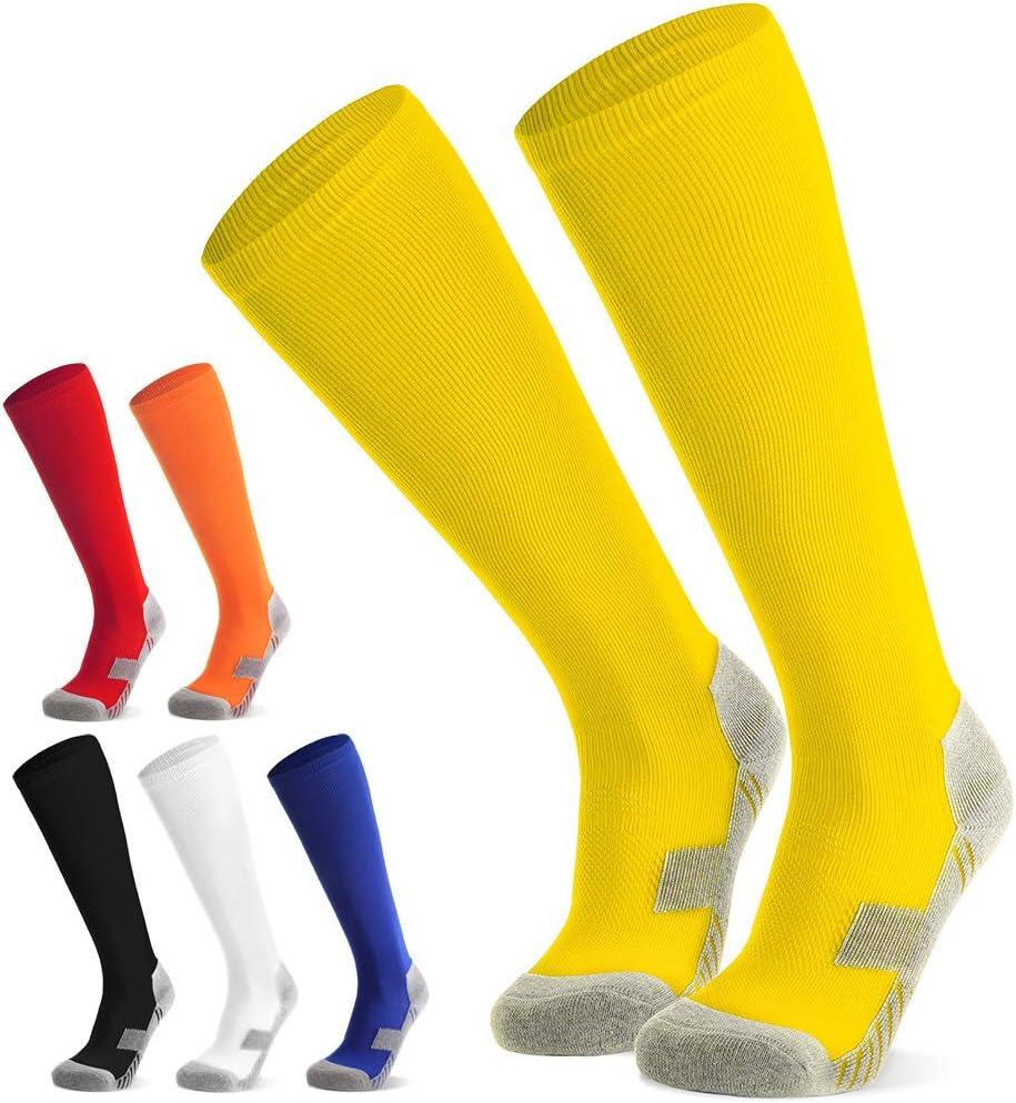 6 Couleurs Chaussettes de Football Enfant gar/çon Fille Chaussettes de Sport