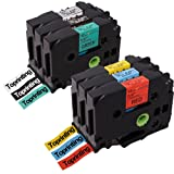 6 x Label Tape Combo Compatible with Brother P-touch TZe-431 TZe-531 TZe-631 TZe-731 TZe-931 TZe-335 12mm x 8m Laminated Cartridge Black on Red/ Yellow/ Blue/ Green/ Silver/ White on Black