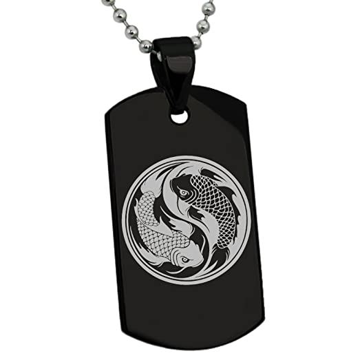 Amazon black stainless steel koi fish yin yang symbol engraved black stainless steel koi fish yin yang symbol engraved dog tag pendant necklace aloadofball Image collections