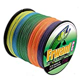 Frwanf Braided Fishing Line 8 Strands Super Strong PE Fishing String ExtremePower Fishing Braid Line for Saltwater and Fresh Water 130 LB Test 500M Multicolor
