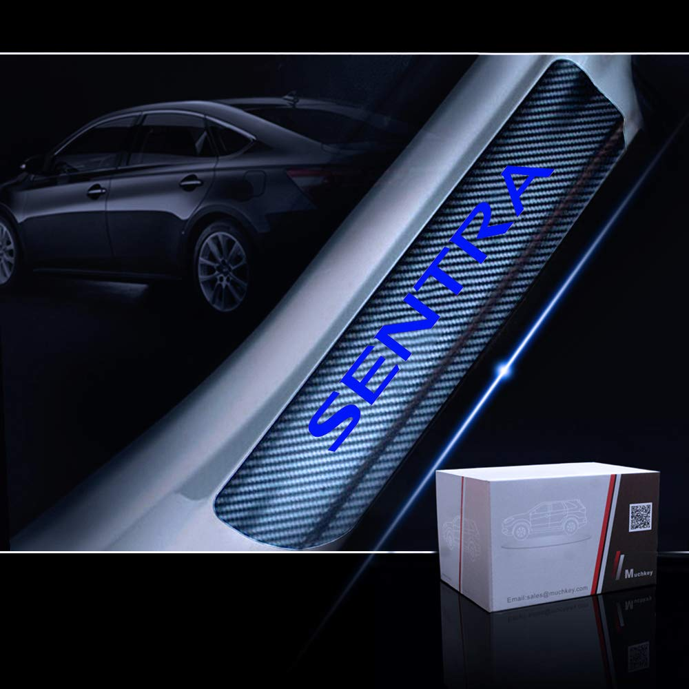 for Nissan SENTRA Door Sill Protector Reflective 4D Carbon Fiber Sticker Door Entry Guard Door Sill Scuff Plate Stickers Auto Accessories 4Pcs White