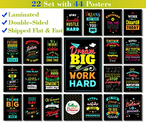 22 Set | 44 Posters | We Ship Flat | Laminated | Motivational and Inspirational Posters with Quotes for The Classroom, Home Wall Art, Office Decorations (Color and Black & White - Double-Sided - V2) ()