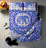 4 PC Set Doona Bedding Boho Indian Elephant Ombre Flower Mandala Duvet Cover Reversible Doona Cover with 1 pc Tapestry Queen Size Bedsheet Elephant Mandala Wall Hanging Beach Throw & Pillow Covers Hip